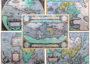 Old antique maps of the world and the five continents by Abraham Ortelius (Theatrum Orbis Terrarum)