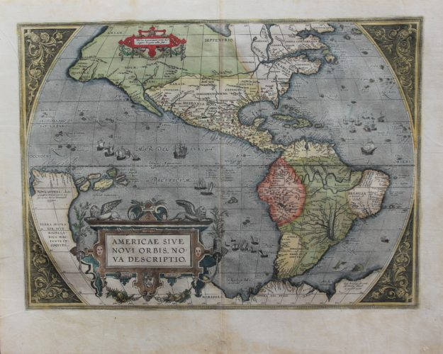 Old map of The Americas (Americae sive novi Orbis nova descriptio) by Ortelius 1595