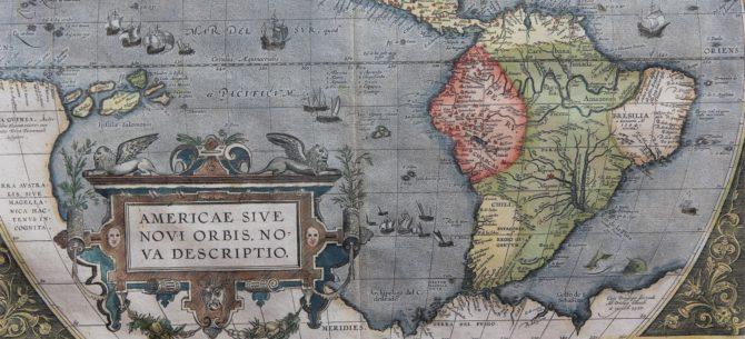 Old map of The Americas (Americae sive novi Orbis nova descriptio) (South America) by Ortelius 1595