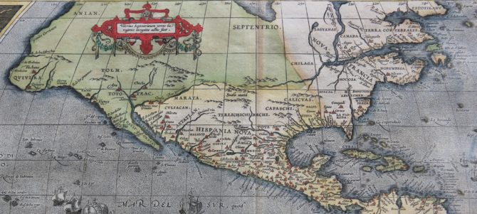 Old map of The Americas (Americae sive novi Orbis nova descriptio) (North America) by Ortelius 1595