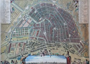 old map of Amsterdam by N. Visscher, ca 1695
