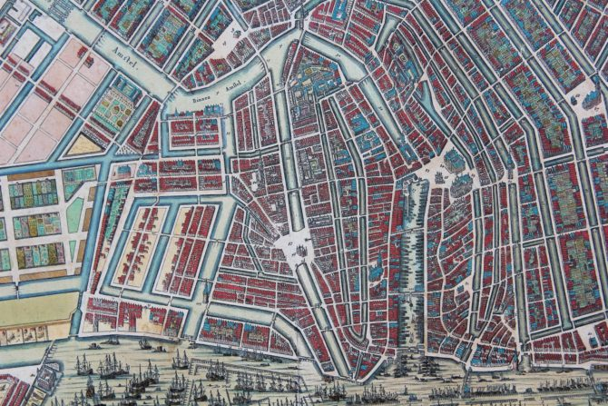 Old map of Amsterdam (detail of the centre) by N. Visscher, ca. 1695