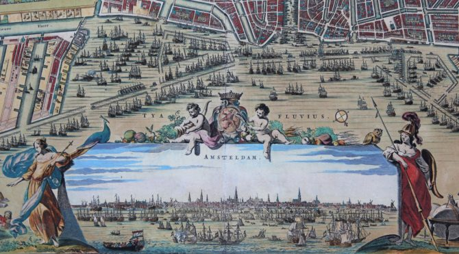 Old map of Amsterdam (frog view of the city) by N. Visscher, ca. 1695