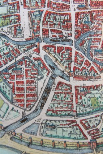 Old map of Brussels (harbor) by Braun and Hogenberg, 1579