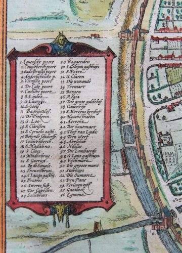 Old map of Brussels (index list) by Braun and Hogenberg, 1579