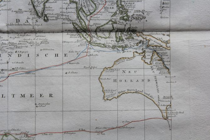 Travels and discoveries by James Cook (Eastern Hemisphere: Australia), 1789, by Roberts and Schraembl