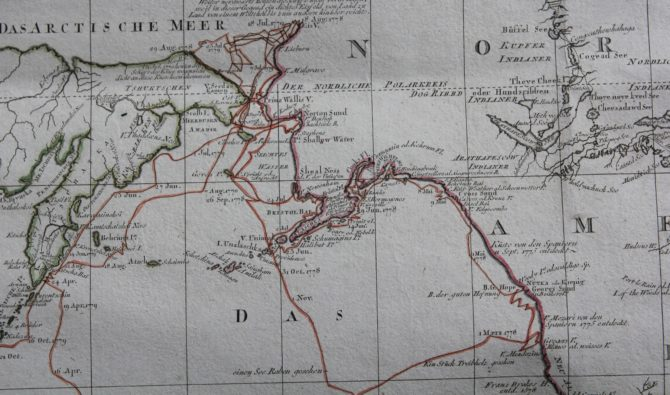 Travels and discoveries by James Cook (Western Hemisphere: Bering Sea), 1789, by Roberts and Schraembl