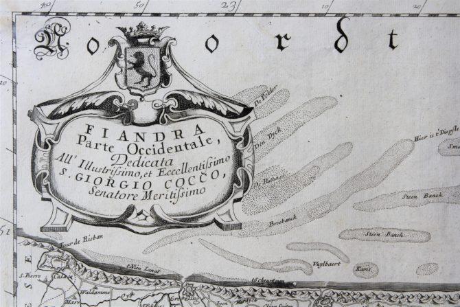 Fiandra parte occicentale (cartouche), Coronelli, ca. 1650