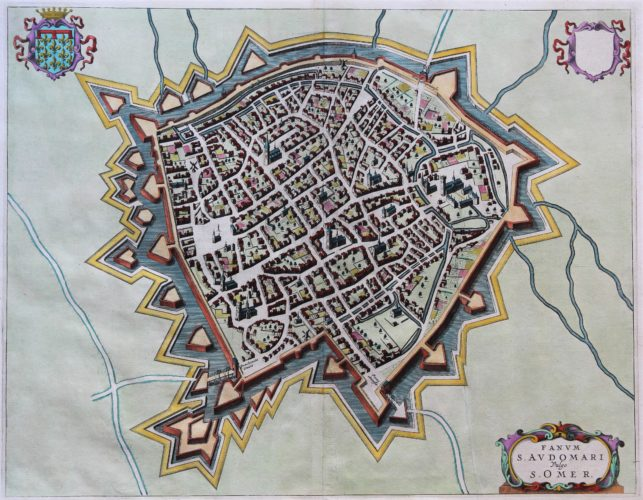 Old antique map of Saint Omer by Blaeu published in his Town Atlas