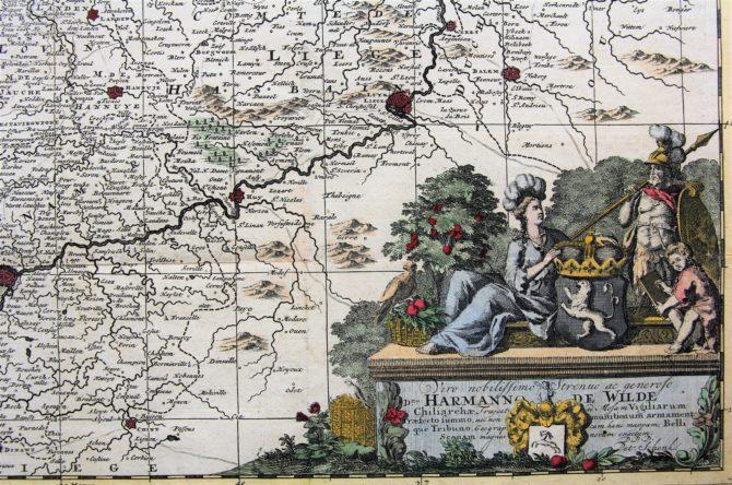 Flandria comitatus et Brabantiae ducatus (cartouche), Schenk, ca. 1700