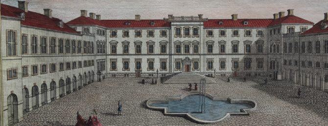 Optica print of Fredericksberg (Copenhagen) (detail) by Casper Wüst, 1746
