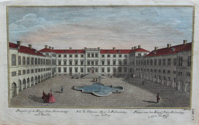 Optica print of Fredericksberg (Copenhagen) by Casper Wüst, 1746