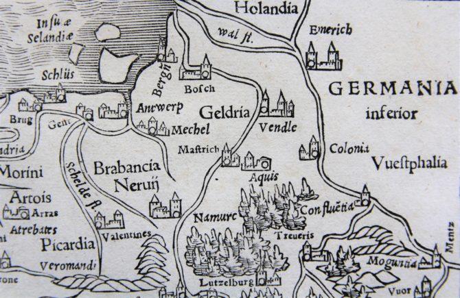 France - Gallia III Nova Tabula (detail North), Sebastian Münster (after 1540)