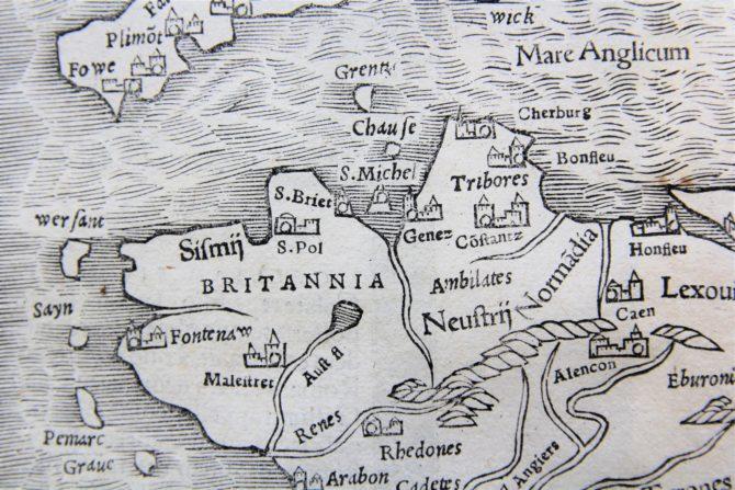 France - Gallia III Nova Tabula (detail Britanny), Sebastian Münster (after 1540)