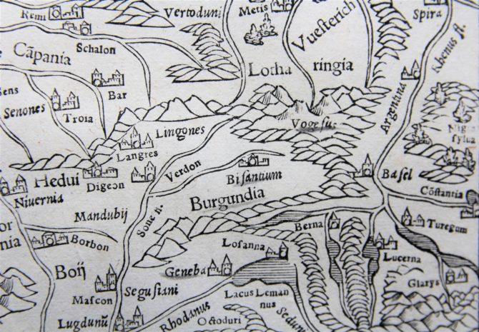 France - Gallia III Nova Tabula (detail centre), Sebastian Münster (after 1540)