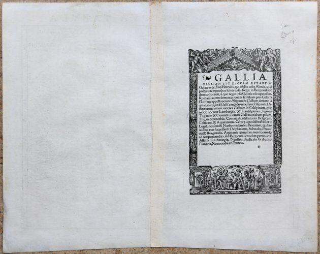 France - Gallia III Nova Tabula (detail verso), Sebastian Münster (after 1540)