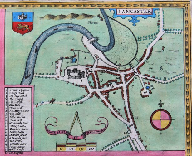 Old map of Lancastershire (city of Lancaster) by John Speed, 1610