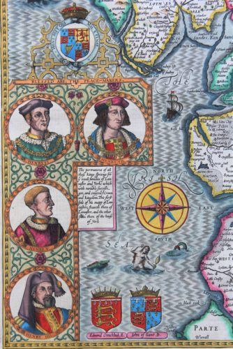 Old map of Lancastershire (detail royalty 2) by John Speed, 1610