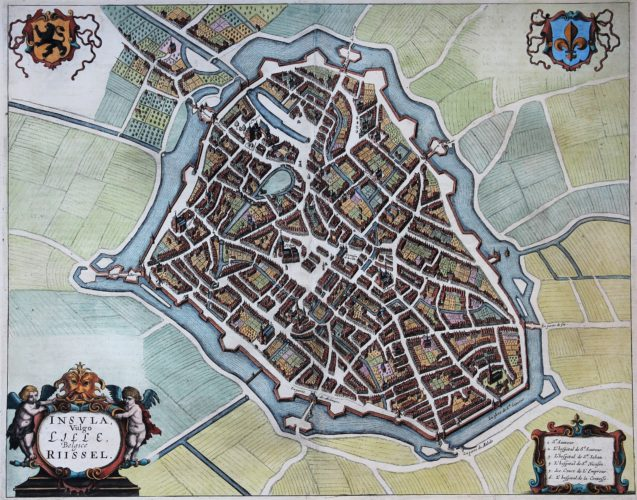 Old and rare map of Lille by Janssonius