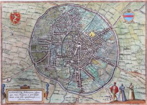 Old map of Leuven (Lovanium) by Braun and Hogenberg, 1581