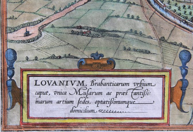 Old map of Leuven (Lovanium) (cartouche) by Braun and Hogenberg, 1581