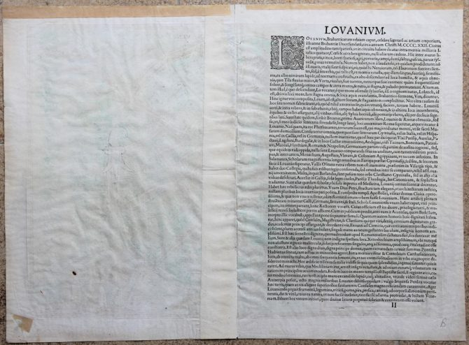 Old map of Leuven (Lovanium) (verso) by Braun and Hogenberg, 1581