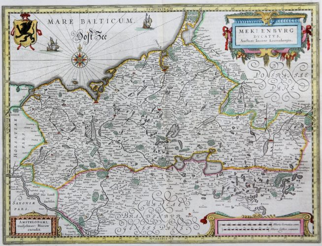 Old map of the Duchy of Mecklenburg, published by Willem and Joan Blaeu, 1635