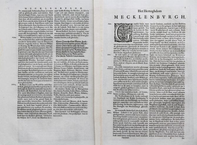 Old map of the Duchy of Mecklenburg (verso), published by Willem and Joan Blaeu, 1635