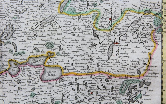 Old map of the Duchy of Mecklenburg (ddetail 1), published by Willem and Joan Blaeu, 1635