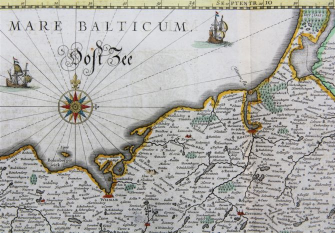 Old map of the Duchy of Mecklenburg (detail 2), published by Willem and Joan Blaeu, 1635