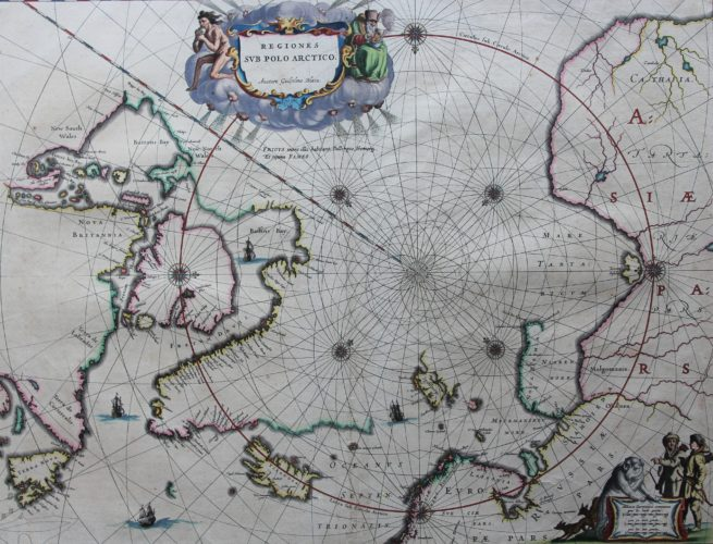Old antique map of North Pole by Joan and Cornelis Blaeu, Appendix, 1640