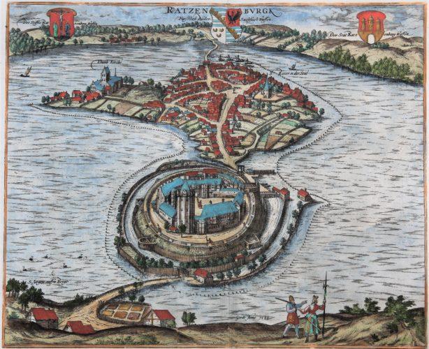 Old map of Ratzeburg by Braun and Hogenberg (Civitates Orbis Terrarum), 1598
