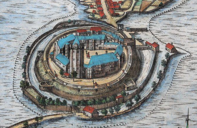 Old map of Ratzeburg by Braun and Hogenberg (Civitates Orbis Terrarum), detail,1598
