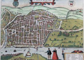 Old map of Rouen by Braun and Hogenberg (Civitates Orbis Terrarum, 1585)