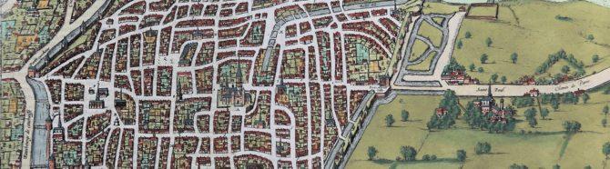 Old map of Rouen by Braun and Hogenberg (Civitates Orbis Terrarum, detail, 1585