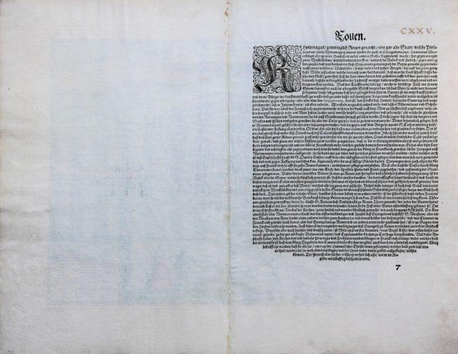 Old map of Rouen by Braun and Hogenberg (Civitates Orbis Terrarum, verso, 585