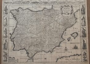 Old carte-à-figures map of Spain by John Speed, 162