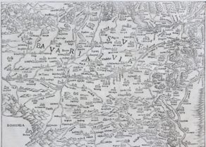 Upper Danube and Upper Rhine - Suevia et Bavaria XI Nova Tabula by Sebstian Münster, 1540