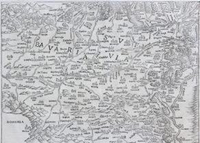 Upper Danube and Upper Rhine - Suevia et Bavaria XI Nova Tabula by Sebstian Münster, 1540