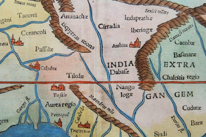 Old map of Southeast Asia (Tabula Asiae XI), detail, by Münster