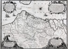 old map of Flanders (era of Middle-Ages) by Nicasius Fabius, ca. 1643