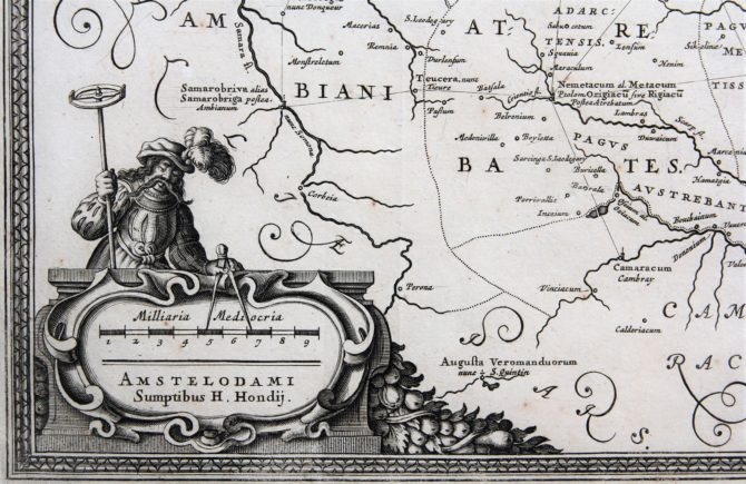 old map of Flanders, detail (era of Middle-Ages) by Nicasius Fabius, ca. 1643