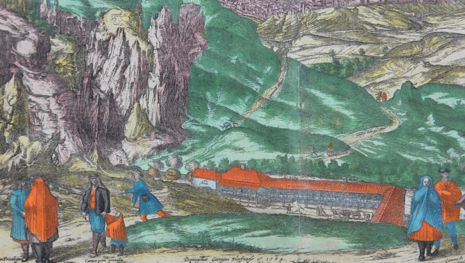 Old map of Alhama (Andalusia) (detail) by Braun and Hogenberg, 1575