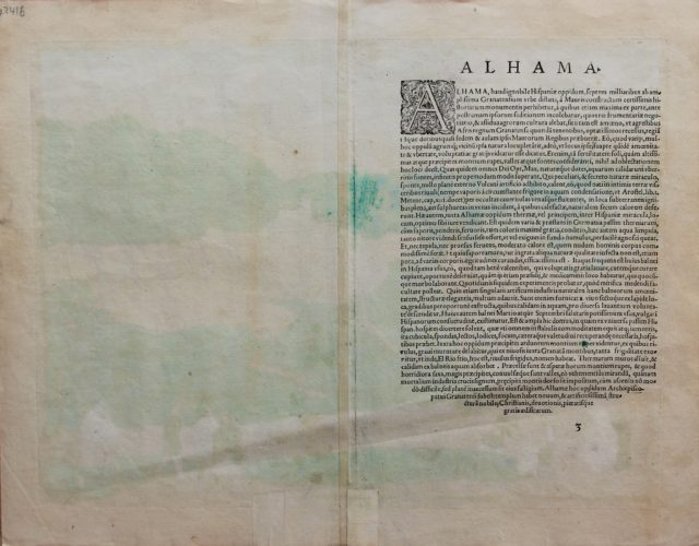Old map of Alhama (Andalusia) (verso) by Braun and Hogenberg, 1575