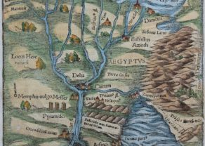 Old woodcut map of Egypt by Sebastian Münster, 1558 (Cosmographia)