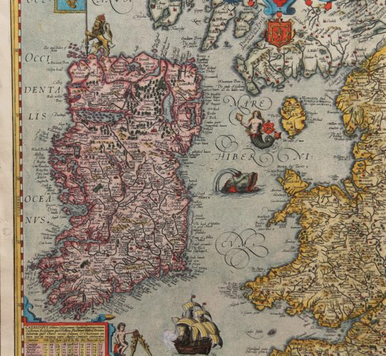 Old map of British Isles - Angliae et Hiberniae Accurata Descriptio (detail Ireland) by Ortelius/Vrients, 1608