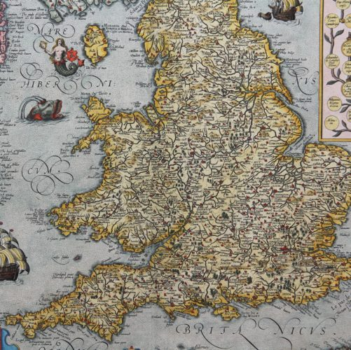 Old map of British Isles - Angliae et Hiberniae Accurata Descriptio (detail) by Ortelius/Vrients, 1608