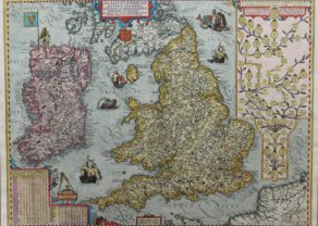 Old map of British Isles - Angliae et Hiberniae Accurata Descriptio by Ortelius/Vrients, 1608