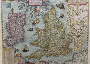Old map of British Isles - Angliae et Hiberniae Accurata Descriptio by Ortelius/Vrients, 1608