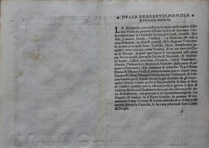 Verso of one of the oldest maps of the Low Countries by Gastaldi, 1548